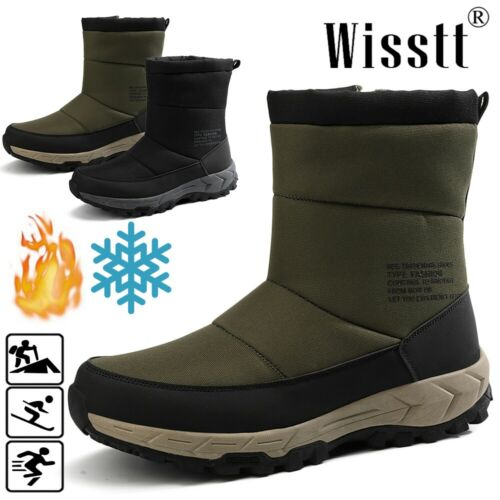 Men/'s Winter Ankle Snow Boots Waterproof Fur Lined Anti Slip Outdoors Warm Shoes