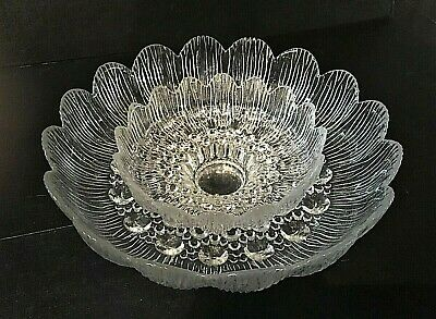 "Pottery & Glass W/ 7"" Serving Bowl Orderly Rare Lausitzer Glass 11"" Textured Crystal Centerpiece Bowl"