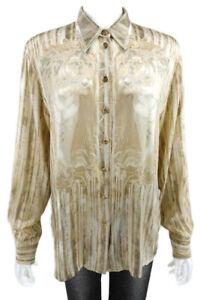 ESCADA-Tan-Silk-Blouse-Top-Leopard-print-button-front-Size-42