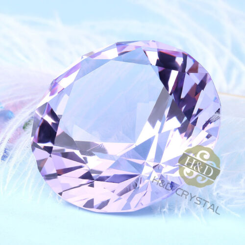 Purple Cut Crystal Glass Diamond Paperweight Wedding Party Table Vence Decor