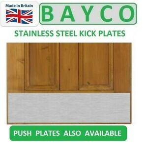 SATIN STAINLESS FINGER PLATE PUSH PLATE WITH SCREWS TIMBER DOORS DRILLED /& CSK