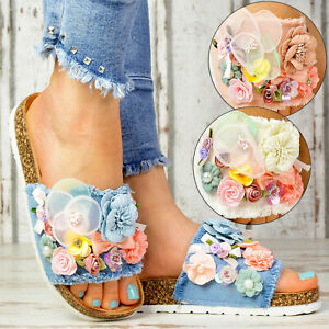 Nuevo-senora-de-plataforma-sandalias-Jeans-Look-verano-sandalias-zapatos-casual-Flores
