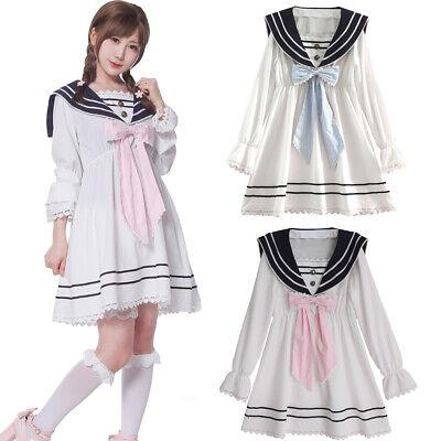 Women Sweet Lolita Bowknot Sailor Collar Dress Summer Casual Short Sleeve Skirt