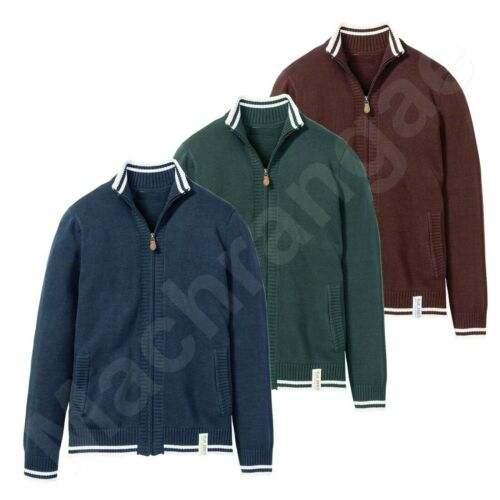 Cardigan Full Zip Up Jumper Knitted Funnel Neck Collar Long Sleeve Sweater