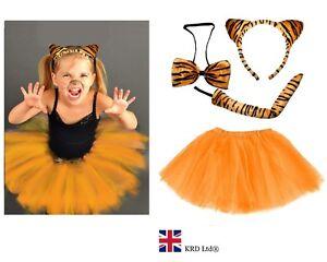 Tutu Headband Kids Tiger Fancy Dress Accessories Halloween Costume Tail /& Bow