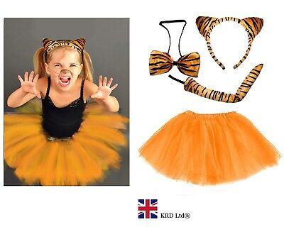 Tutu Headband Tail /& Bow Kids Tiger Fancy Dress Accessories Halloween Costume