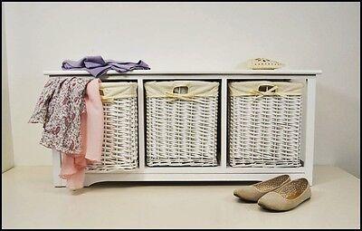 Storage Bench Seat White Storage Basket Drawer Bathroom Hall Organizer Furniture