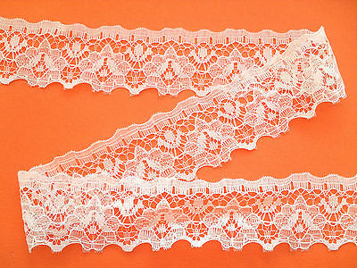 "~Pretty Ivory Delicate Tulle NOTTINGHAM Flower Lace 1.5/""  Wedding//Baby//Cards//"