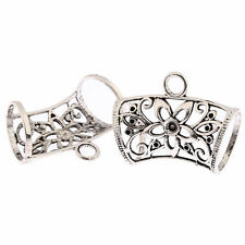 Tibetan Silver Floral Scarf Bail Ring alloy tube Connector Beads 2pcs hole 7mm