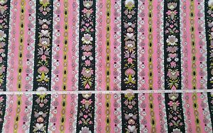 Vintage 60's Mod Flower Power Fabric 1.5 yds Pink Green Black White Polyester