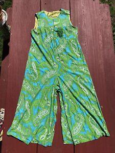 Vtg REAL Mid-Century 60-70's Green Blue Paisley Dress MOD Pantsuit BELL BOTTOMS!