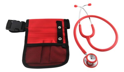 Red nurses pouch with stethoscope