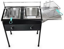 Heavy Duty Taco Cart Two Tank Double Deep Fryer Compatible With Propane Gas Tank