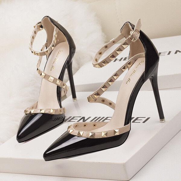 Stiletto Schuhe decolte Sandaleei eleganti borchie  simil pelle 11 nero 1188