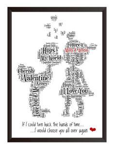 Personalised Owl Christmas Valentine/'s Day Word Art Print Gift Keepsake