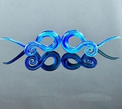 1 Pair Hand Made Pyrex Glass Earring Tapers Plugs Ear Tunnels Spiral Right/&Left