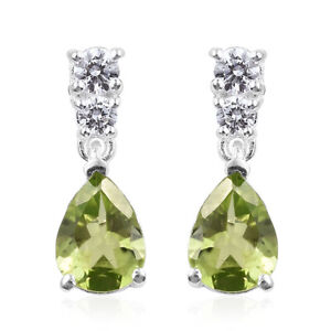 Elegant-925-Sterling-Silver-Peridot-Cubic-Zirconia-CZ-Dangle-Drop-Earrings-Pairs