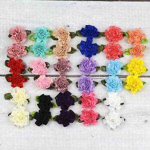 10X1-034-Satin-Ribbon-Carnation-Flower-Appliques-craft-Wedding-Clothes-sewing-Decor