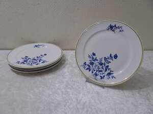 5 x DDR Weimar Porzellan Petra Speiseteller Blaue Blume Goldrand Vintage Kobalt