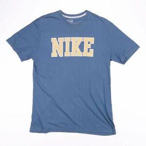 Vintage-NIKE-Blue-amp-Yellow-Big-Logo-Sports-T-Shirt-Size-Men-039-s-Large