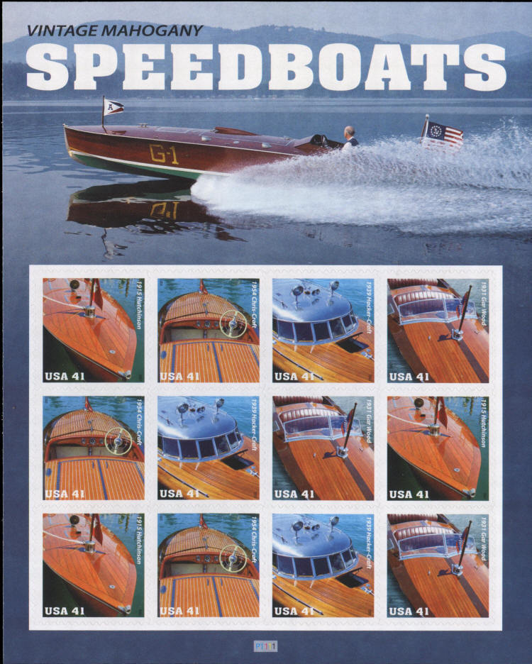 2007 41c Vintage Mahogany Speedboats, Sheet of 12 Scott
