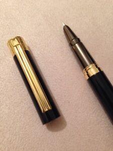 HERO-7037-BLACK-GOLD-TRIM-FINE-NIB-FOUNTAIN-PEN-CONVERTER-UK-SELLER