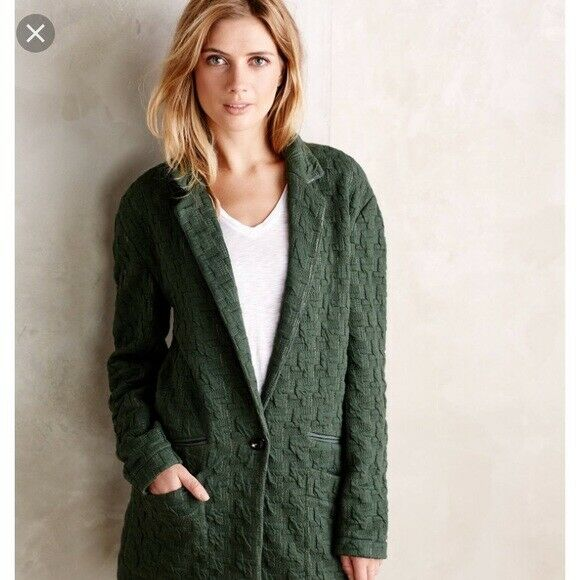 NWT CARTONNIER Anthropologie S Green Textured Houndstooth Heavy Oversized Blazer