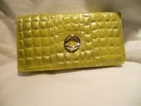 My Big Fat Croco Checkbook Wallet,lime Green
