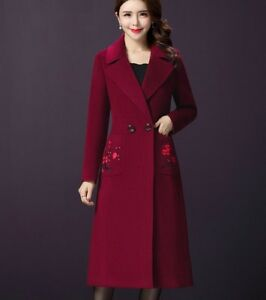Fit 4xl Blend Slim Womens Long Warm Coats Breasted Outwear Double Overcoat uld q8qP6wI