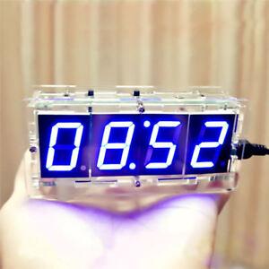 4-digit LED Electronic Clock DIY Kit Light Control Time Alarm Transparent Case