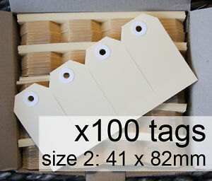 x100-SHIPPING-TAGS-size-2-plain-manilla-BUFF-Avery-swing-tags-labels-41-x-82mm