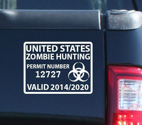 Zombie Hunting Permit Individually Numbered Outbreak Team Decal (5