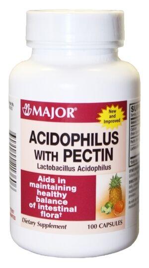 Major Acidophilus With Pectin Capsules 100 Ct