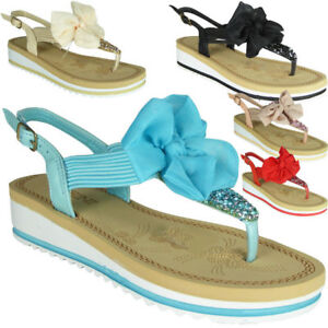 Womens-Ladies-Comfy-Flat-Wedge-Summer-Slingback-New-Toe-Post-Sandals-Shoes-Sizes