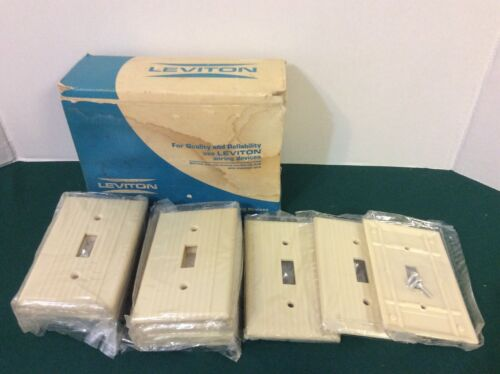13 Pack Leviton 1 Gang Toggle Switch Wall Plate Bakelite Ribbed Ivory NOS
