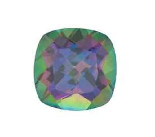 5x5mm-12x12mm Natural Mystic Green Topaz Square Cushion Faceted AAA Loose Stone