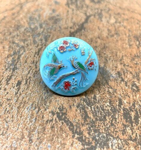 Czech Glass Button Vintage Peacock Design on Turquoise Glass Size 14