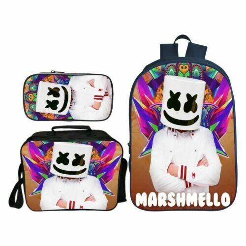 3D DJ Marshmello Mellow Dance School Backpack Lunch Bag Pencil Case
