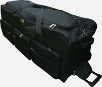 "42"" Black Heavy Duty Polyester Jumbo Rolling Wheeled Duffel Bag Luggage Suitcase"