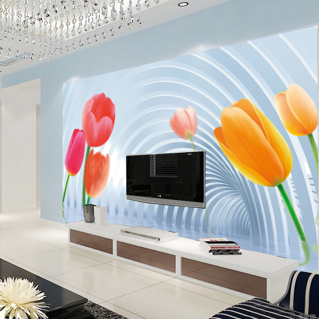 3D Tulip Flowers Pattern 412 Paper Wall Print Wall Decal Wall Deco Indoor Murals