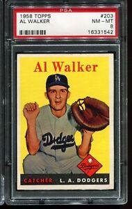1958 Topps Baseball #203 AL WALKER Los Angeles Dodgers PSA 8 NM-MT