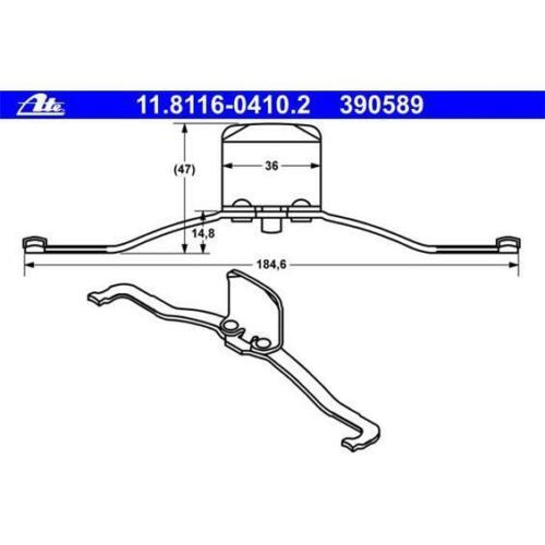 ATE 11.8116-0410.2 Bremssattelfeder vorne für AUDI