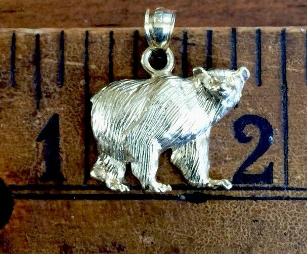 Bear Pendant Charm 14 kt Yellow gold 3 Dimensional Textured Signed