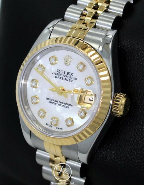 a7315298bf3 Rolex Datejust 69173 Jubilee 18K Yellow Gold & SS MOP Diamond Dial Ladies  Watch