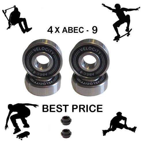 ABEC 9 Cuscinetti Ruote Distanziatori Skateboard Scooter Quad inline roller skate 11
