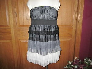 As-U-Wish-M-Black-to-White-Shutter-Strapless-Dress-NWT-So-Cute