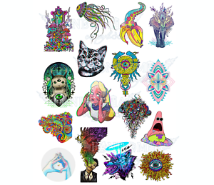 Acid psychodelic freaky A4 stickers set decals