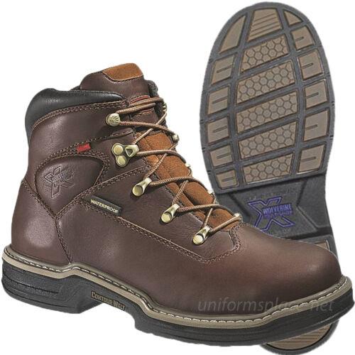 Wolverine Work Boots Mens Buccaneer MultiShox Steel-Toe Waterproof Brown Leather
