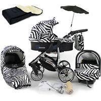 Baby Pram Stroller Pushchair + Car Seat - Buggy Umbrella Footmuff Swivel Wheels