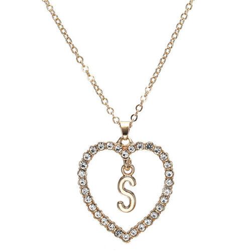 Women Rose Gold Love Heart Letter Alphabet Charm Pendant Choker Necklace
